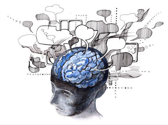 Denk wolkjes uit het brein illustratie bij blog over burn-out preventie